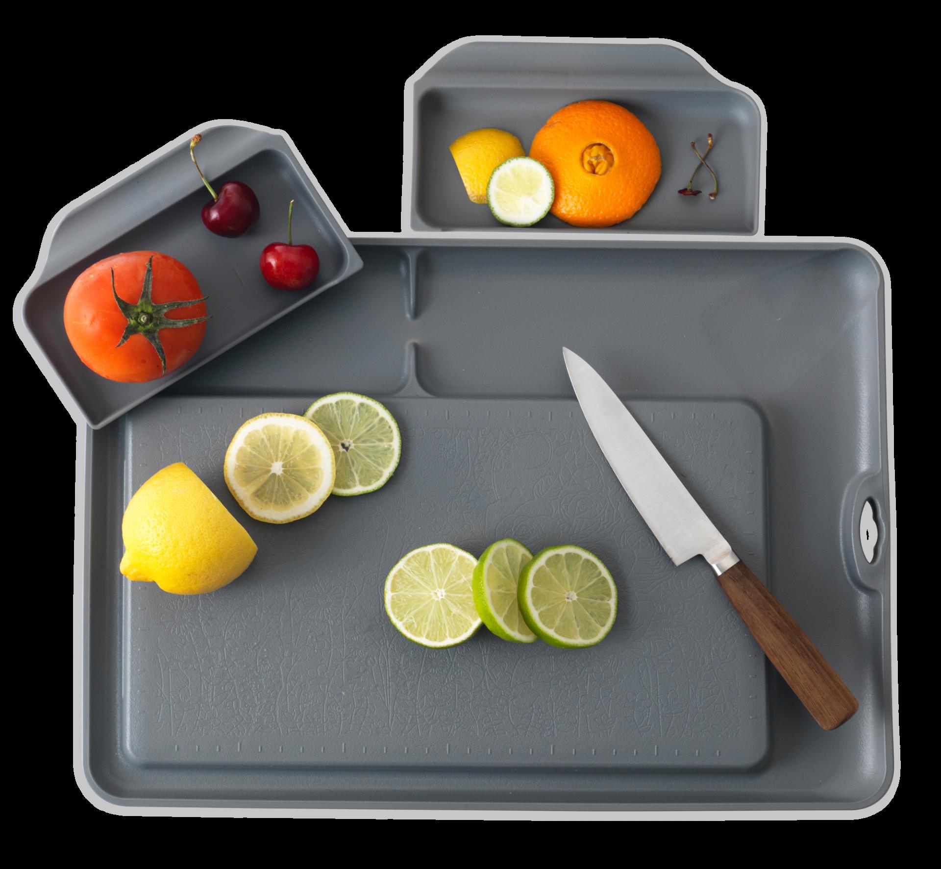 JMgreen プラスチック まな板 カッティングボード 受皿 付き 抗菌加工 食洗機OK 滑り止めつき 韓国 人気 便利 キッチン 料理 野菜 包丁 カット 時間短縮 効率的 料理器具